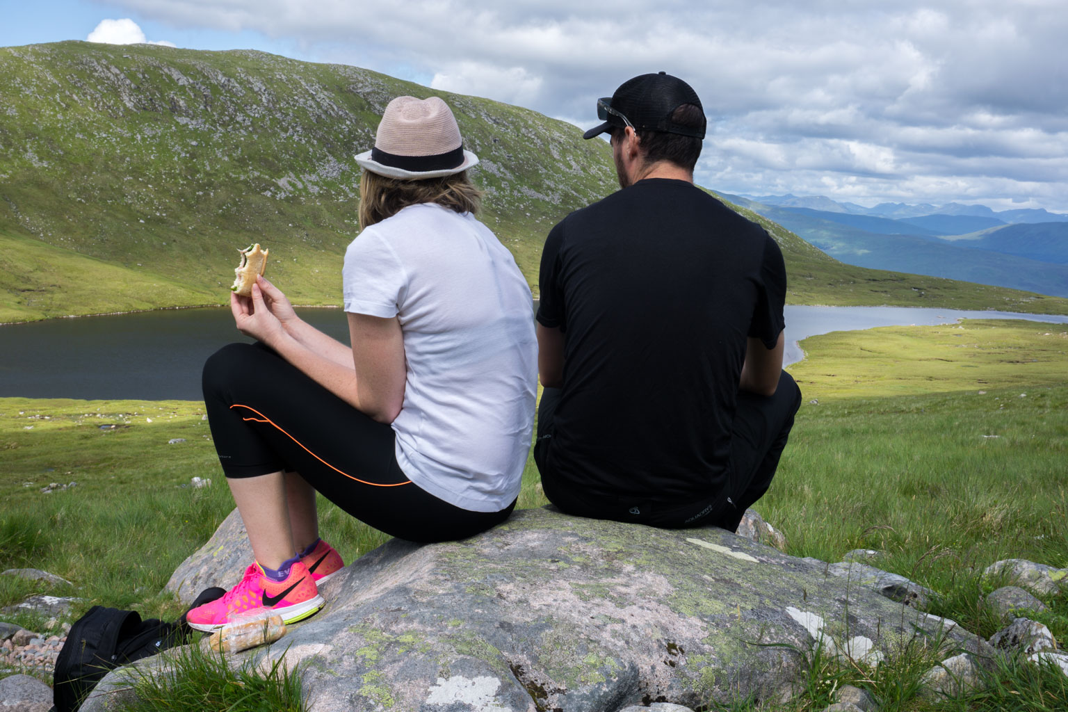 The Two Drifters having a break, admiring the view and enjoying lunch while Climbing Ben Nevis, Scotland