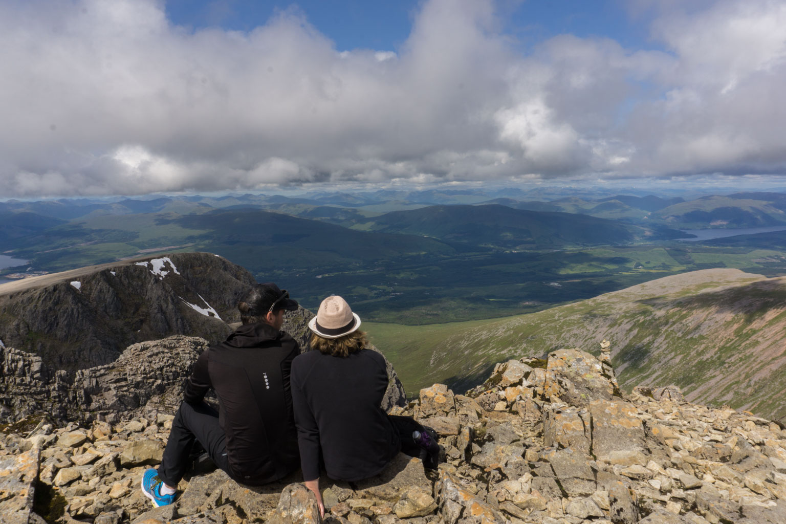 The Two Drifters admiring the view after climbing to the top of Ben Nevis, Scotland