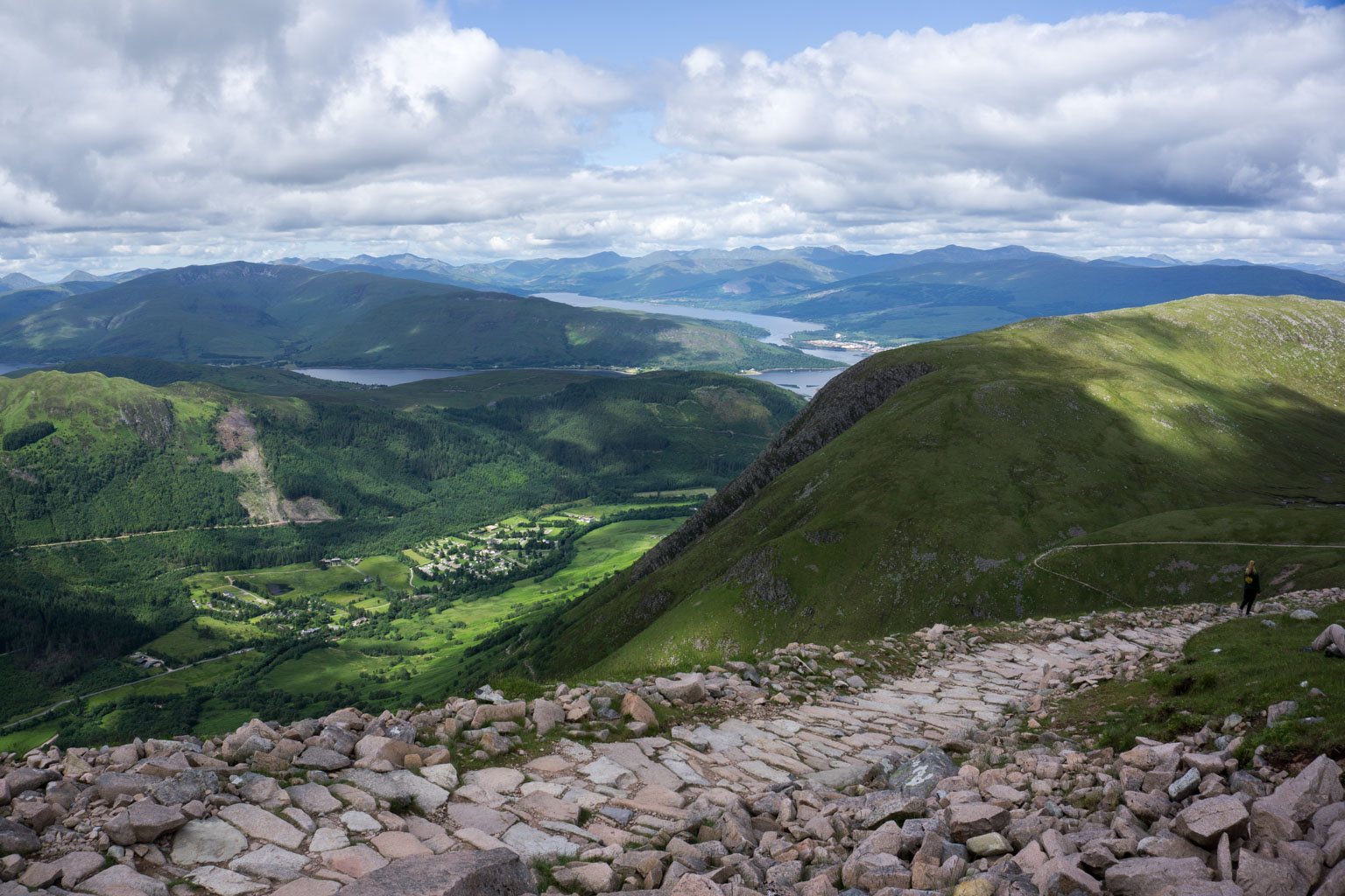 The Two Drifters Climbing Ben Nevis and admiring the incredible view of Scotland