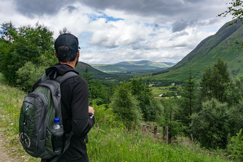 Walks in Glen Nevis Two Drifters Admire the view back to Fort William