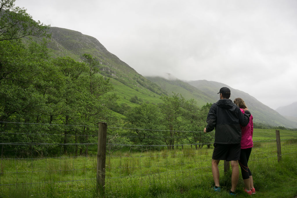 Walks in Glen Nevis Two Drifters Look up to Ben Nevis, Scotland