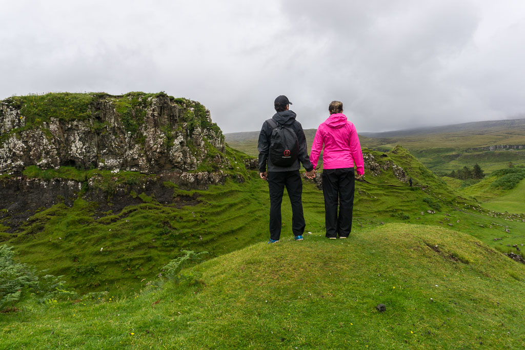 Isle of Skye The Two Drifters Holding Hands at the Fairy Glen