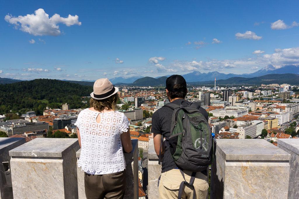 Admire the castle view, Ljubljana, Slovenia, The Two Drifters www.thetwodrifters.net