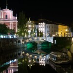 The Triple Bridge at night, Ljubljana, Slovenia, The Two Drifters www.thetwodrifters.net