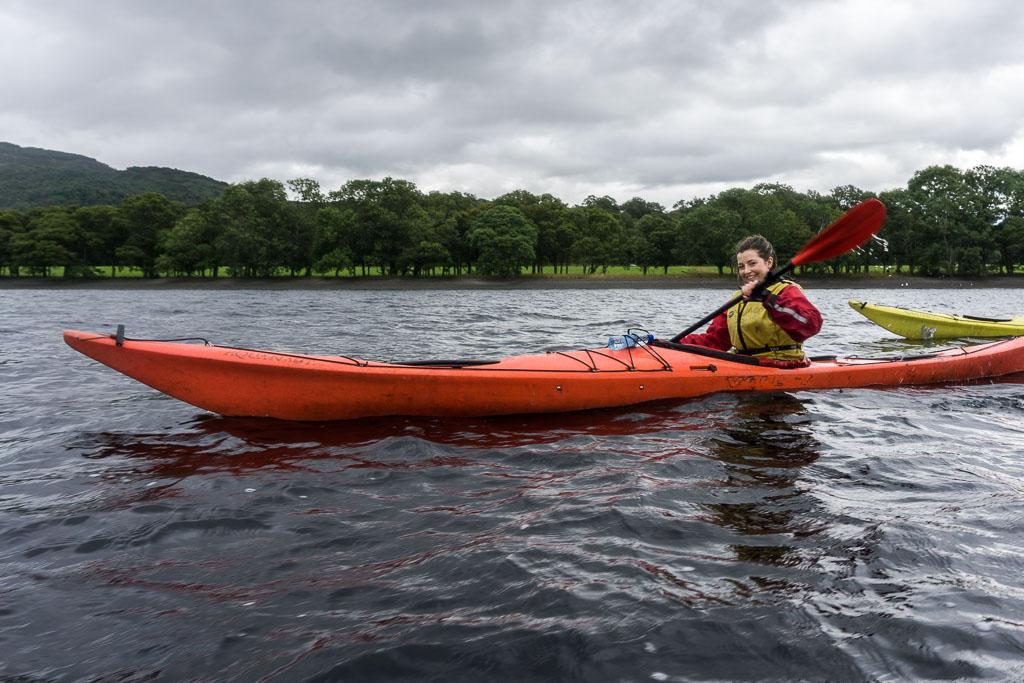 West Highland Way, The Two Drifters, www.thetwodrifters.net Eilis kayaking Loch Lomond in Scotland