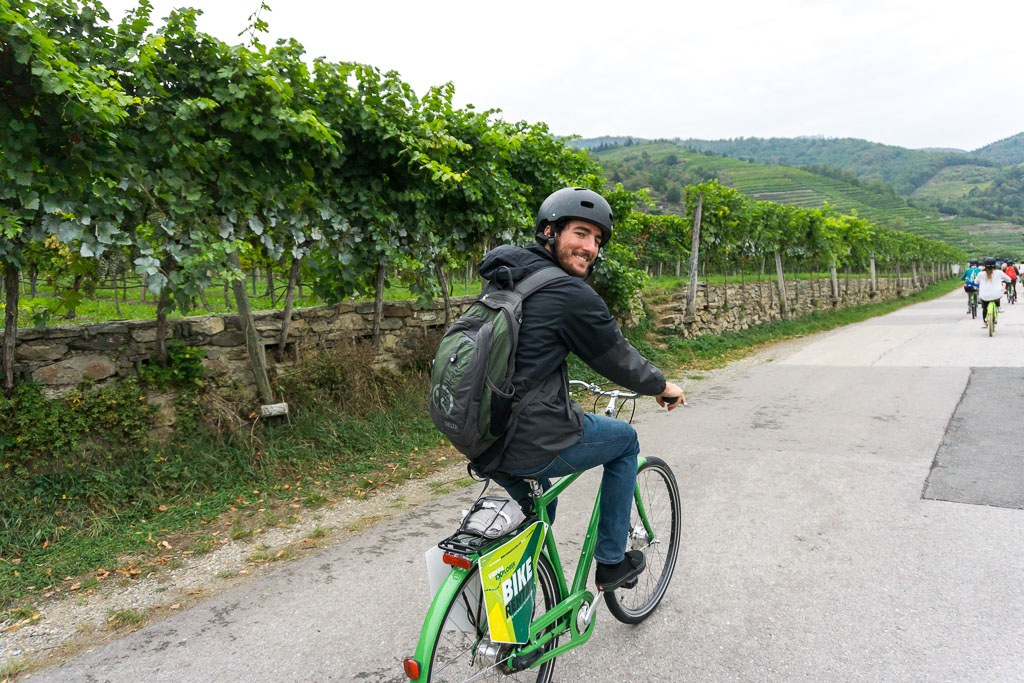 Scott riding, Bike and Wine Tour Wachau Valley, The Two Drifters, www.thetwodrifters.net