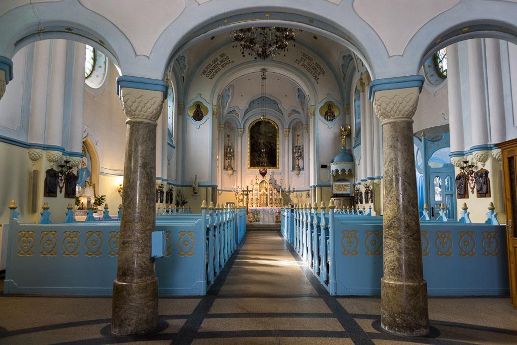 Inside of the Blue Church, Bratislava, The Two Drifters, www.thetwodrifters.net
