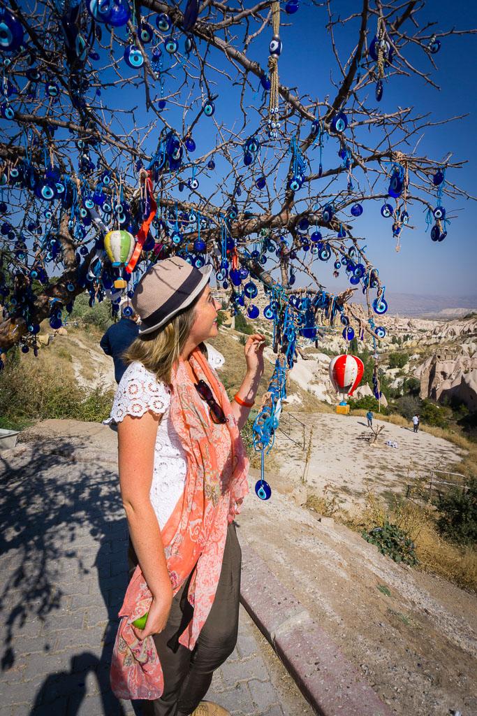 Admiring the Evil Eye Tree, Cappadocia, The Two Drifters, www.thetwodrifters.net