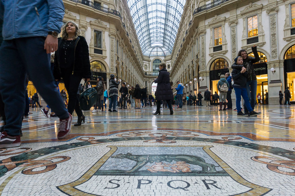 Mosaics, Galleria Vittorio Emanuele II, Milan, The Two Drifters, www.thetwodrifters.net