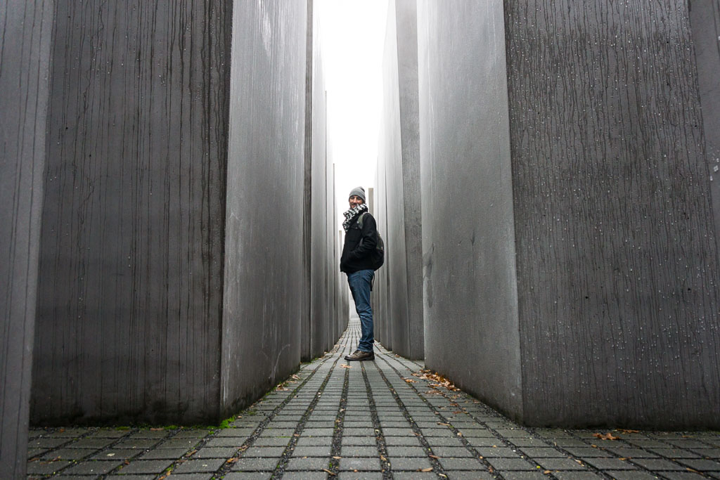Scott in the Holocaust Memorial,  Berlin, The Two Drifters, www.thetwodrifters.net
