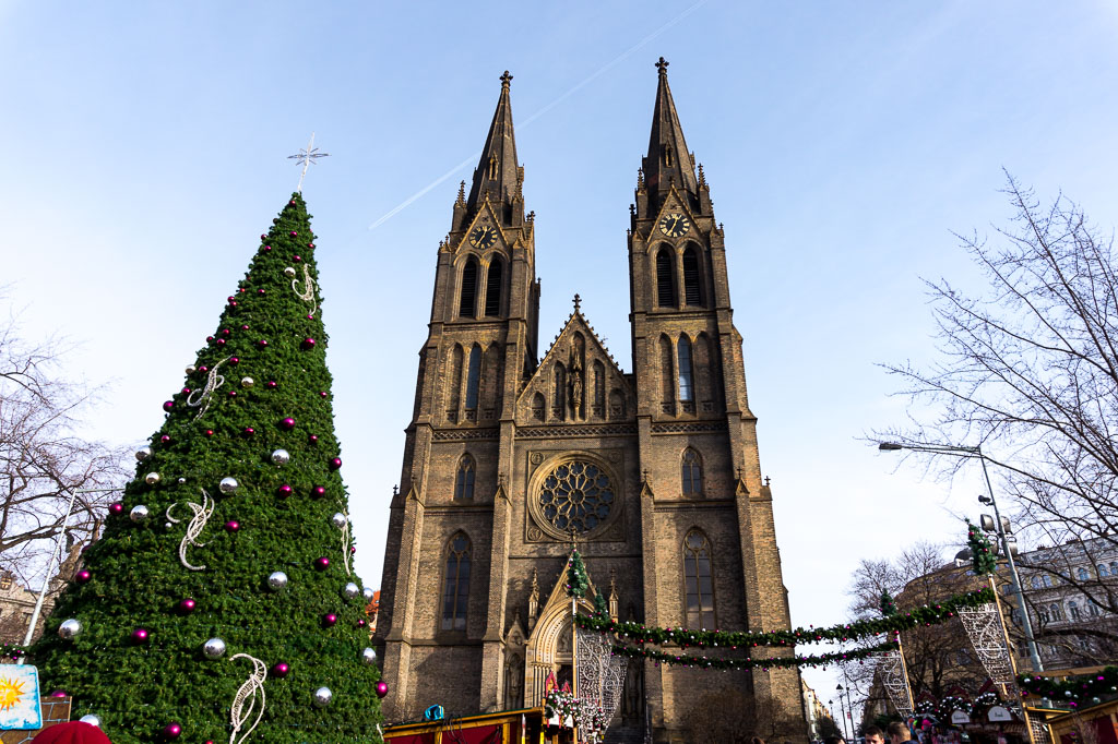 Church of St Ludmila, Prague at  Christmas, The Two Drifters, www.thetwodrifters.net