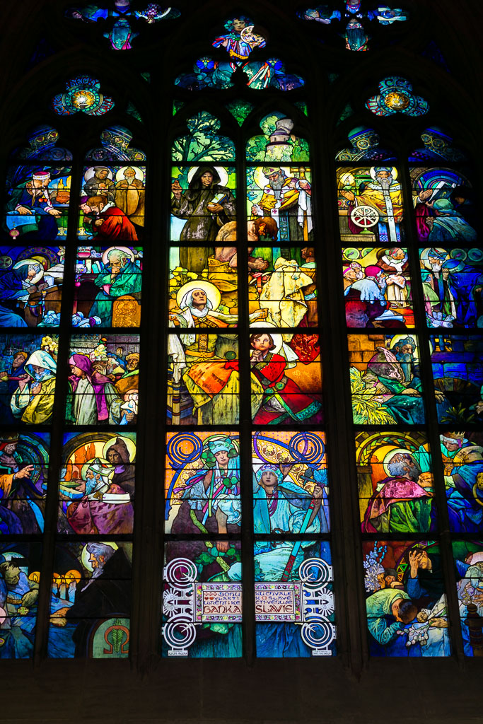 Stained Glass windows, St Vitus, Prague at  Christmas, The Two Drifters, www.thetwodrifters.net