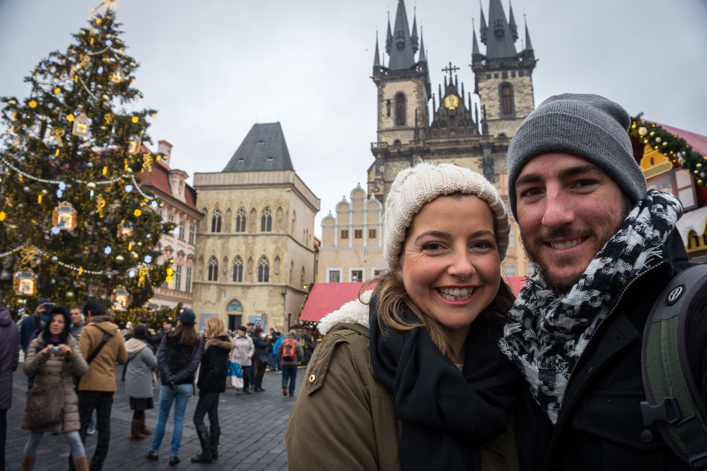 Us, Old Town Square, Prague at  Christmas, The Two Drifters, www.thetwodrifters.net